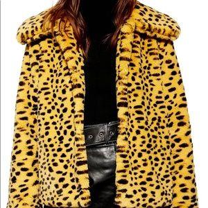 TOPSHOP Cheetah Print Faux Fur Coat